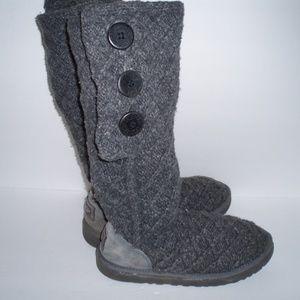 UGG Cardy Lattice Gray Knit Boots-8 M